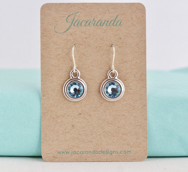 March Birthstone Earrings - Silver or Gold - Jacaranda