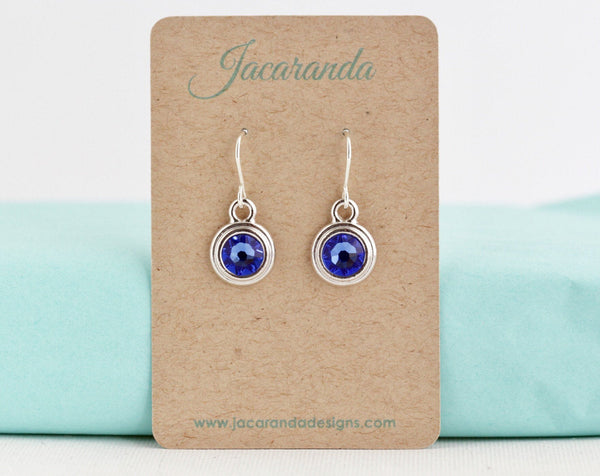 September Birthstone Earrings - Silver or Gold - Jacaranda