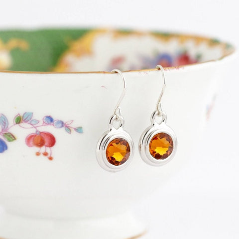 November Birthstone Earrings - Silver or Gold - Jacaranda