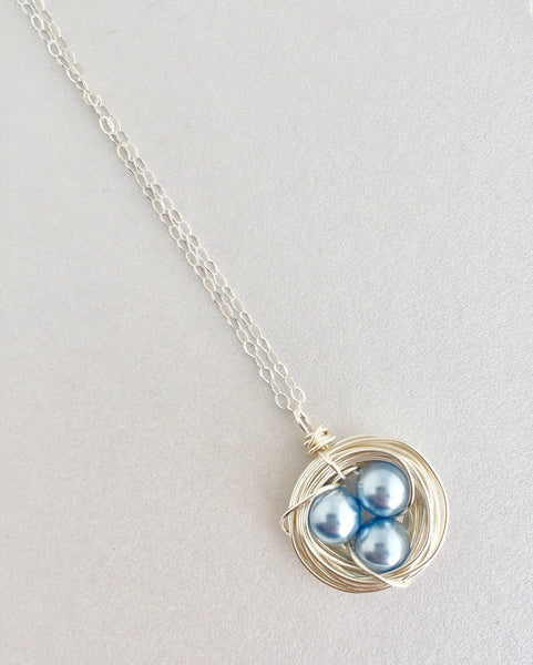 Silver Bird Nest Necklace With Pearl Eggs - Jacaranda