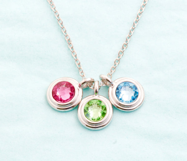 Silver Birthstone Necklace - Choose Your  Number of Charms