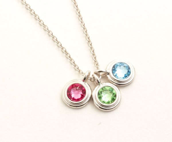 Silver Birthstone Necklace - Choose Your  Number of Charms - Jacaranda
