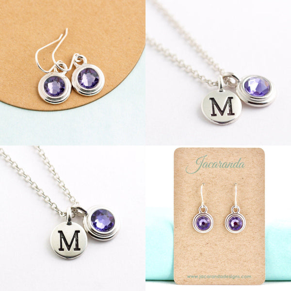 Birthstone and Initial Necklace and Earrings Set in Silver