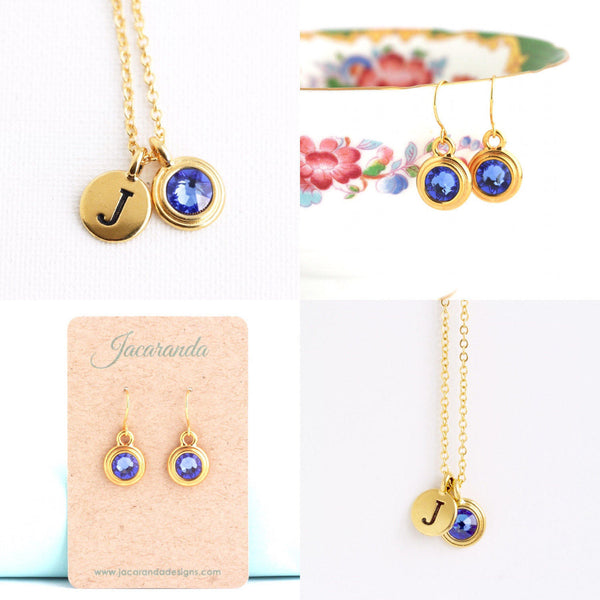 Birthstone and Initial Jewelry Set in Gold