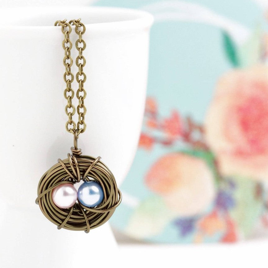 Personalized Bird Nest Necklace in Antique Bronze - Jacaranda