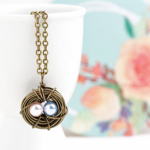 Personalized Bird Nest Necklace in Antique Bronze
