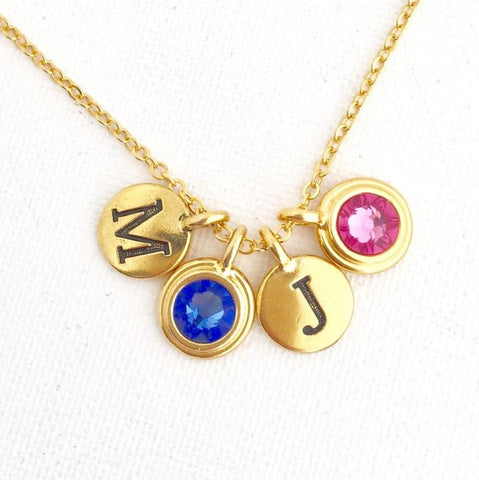 Family Necklace With Birth Stones and Initials - Jacaranda