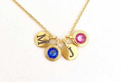 Family Necklace With Birth Stones and Initials