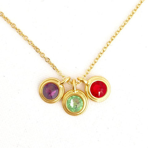 Birthstone Necklace With Childrens' Birthstones - Jacaranda