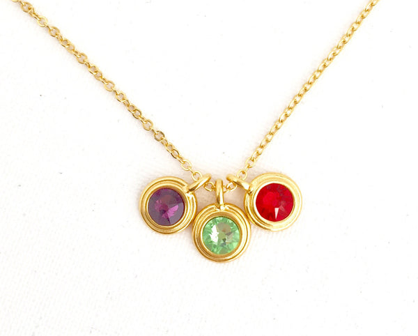 Gift For Mom - Birthstone Necklace With Childrens' Birthstones