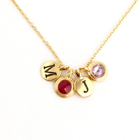 Mothers birthstone and initial necklace