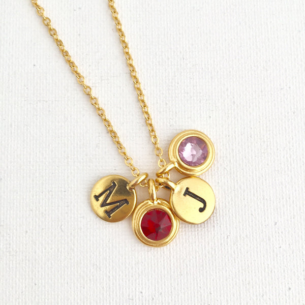 Mothers Birthstone & Initial Necklace - Jacaranda