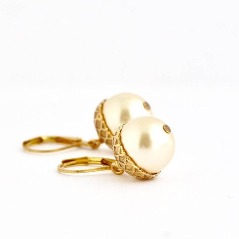 Pale Gold Pearl Acorn Earrings - Jacaranda