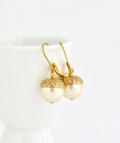 Pale Gold Pearl Acorn Earrings
