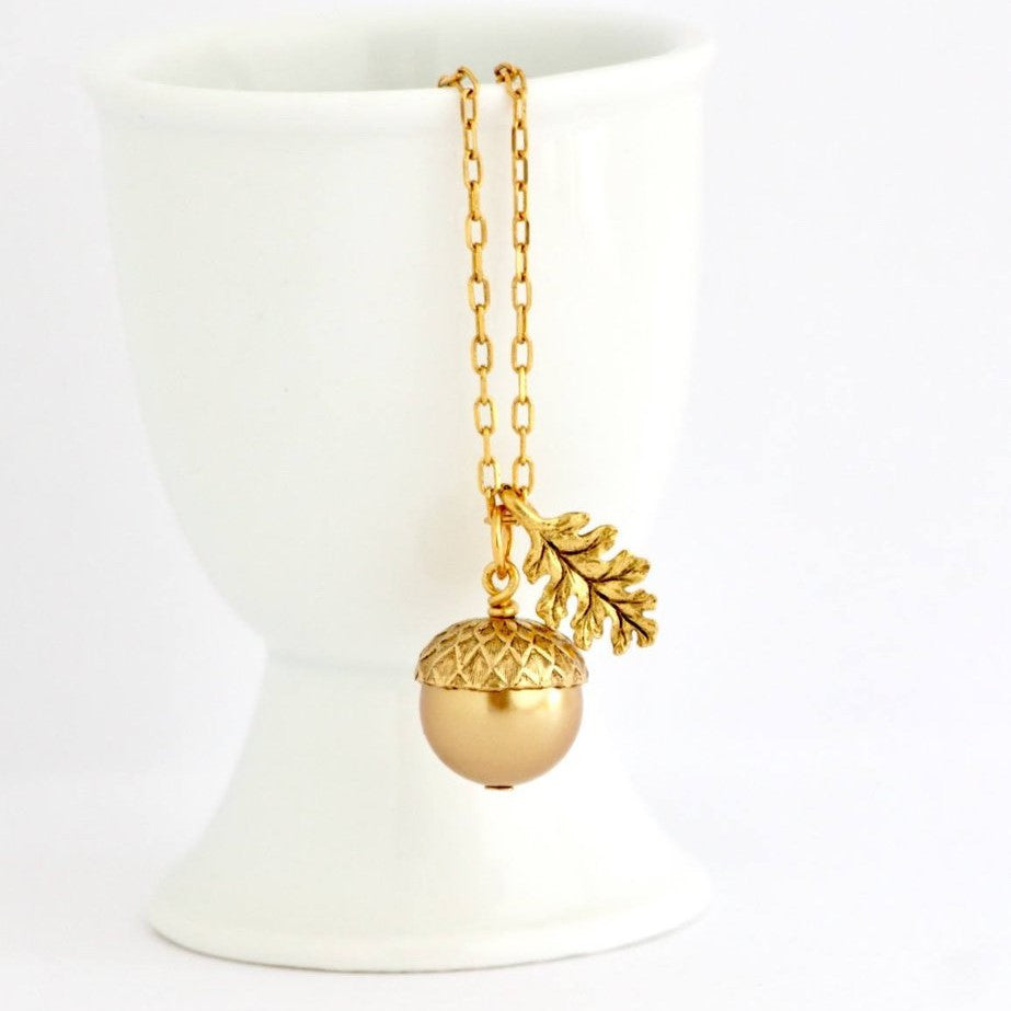 Gold Pearl Acorn Necklace - Jacaranda