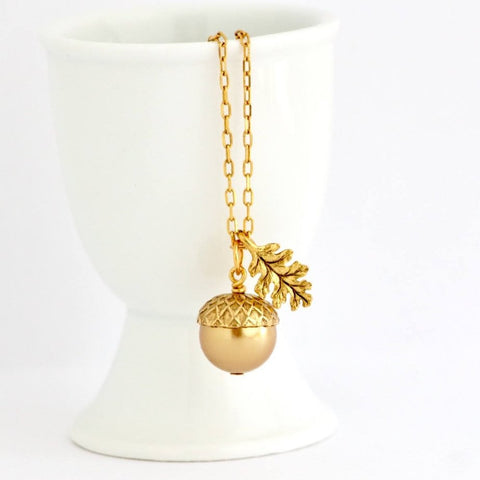Pale Bronze Pearl Acorn Necklace With Gold Plated Chain - Jacaranda