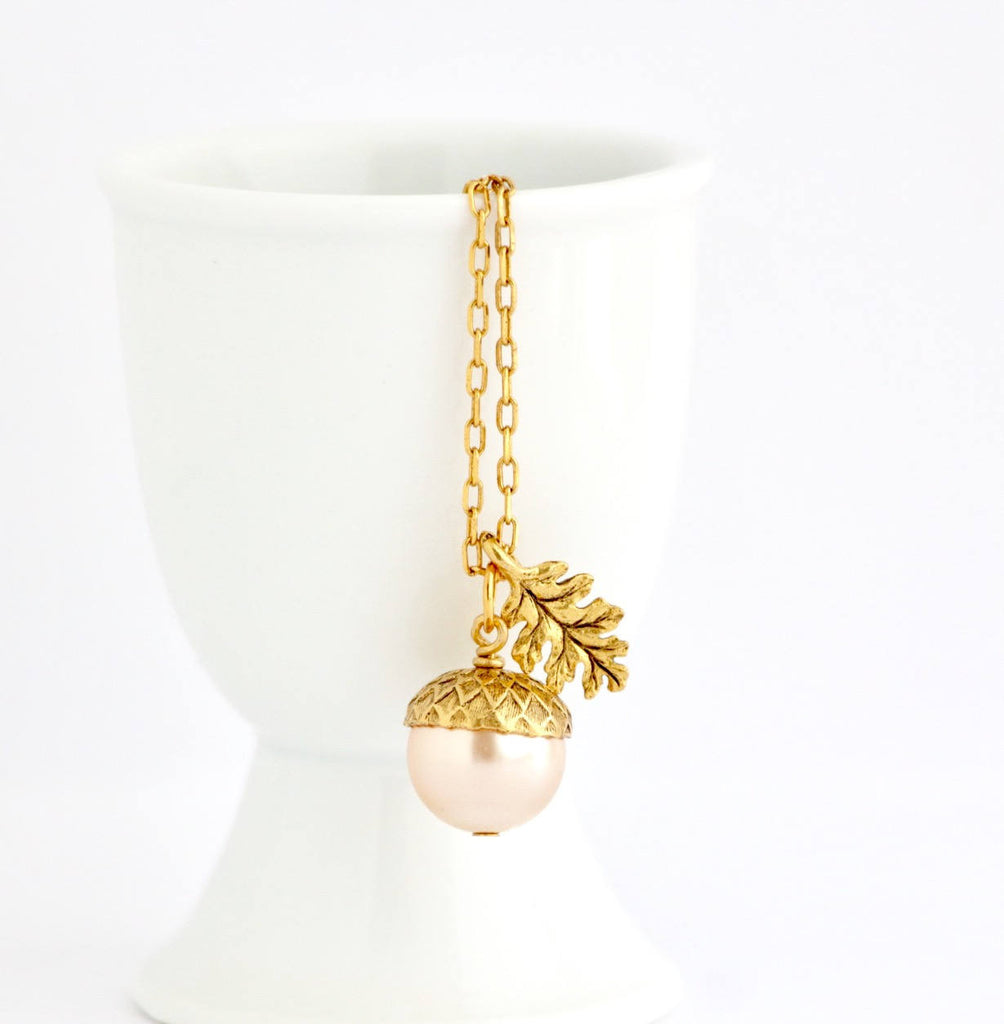 Blush Pink Pearl Acorn Necklace With Gold Plated Chain