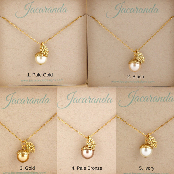 Gold Pearl Acorn Necklace With Gold Plated Chain