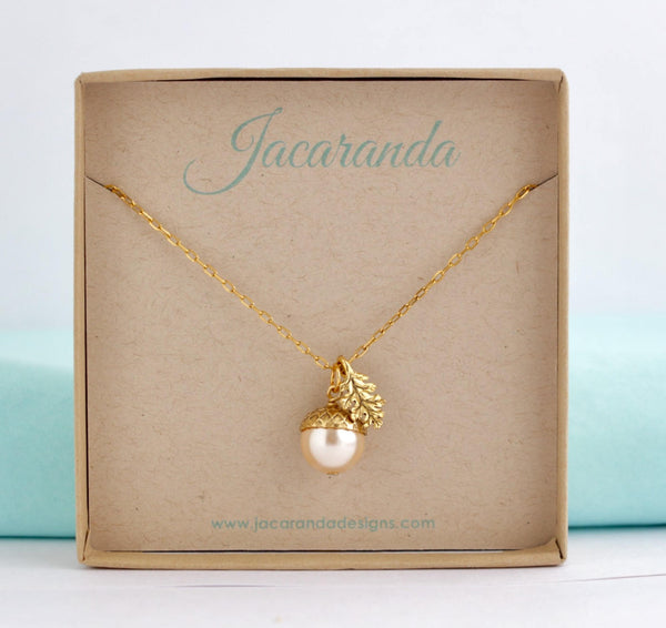 Acorn Necklace Earrings Gift Set - Blush - Jacaranda