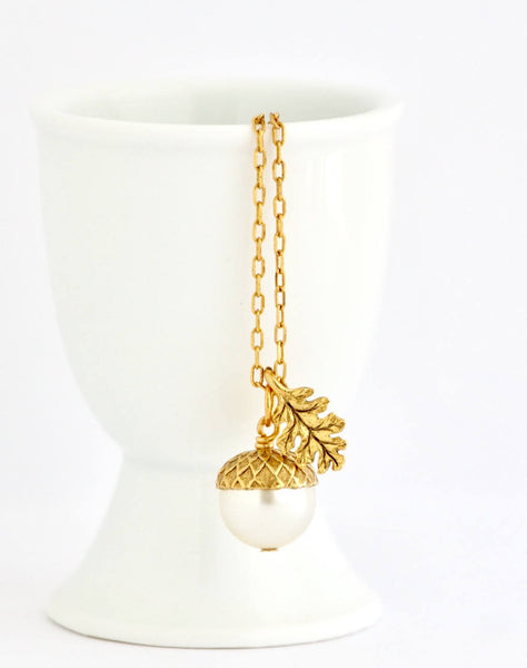 Acorn Necklace Earrings Gift Set - Pale Gold Pearl - Jacaranda