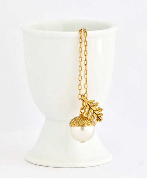 Acorn Necklace Earrings Gift Set - Ivory - Jacaranda