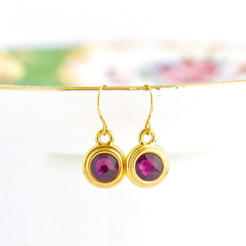 February Birthstone Earrings - Gold or Silver - Jacaranda