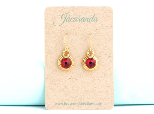 January Birthstone Earrings - Gold or Silver