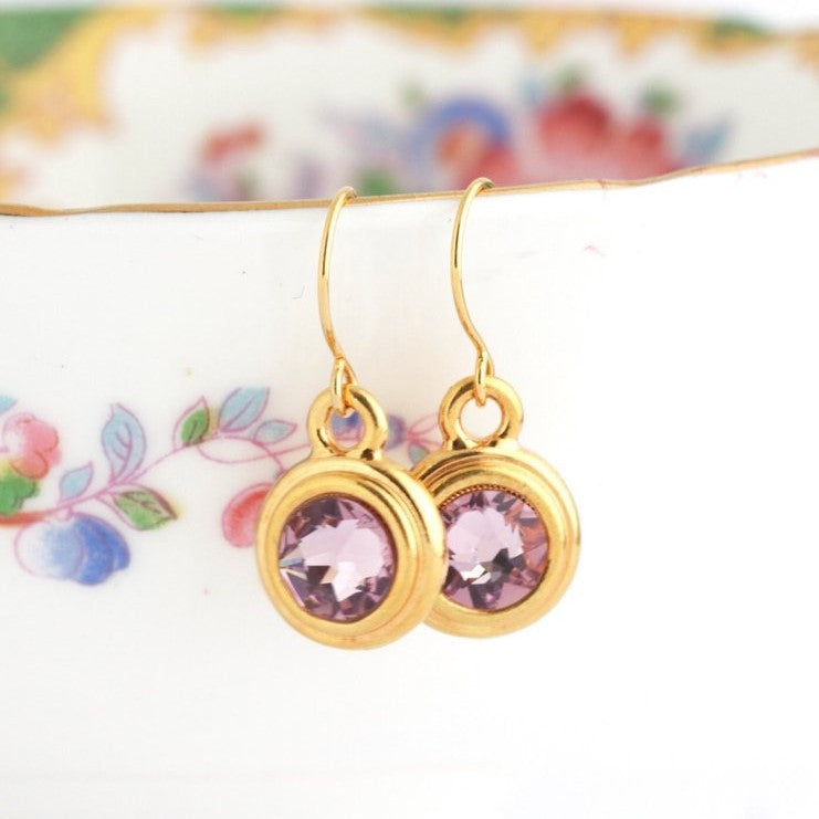 June Birthstone Earrings - Gold or Silver - Jacaranda