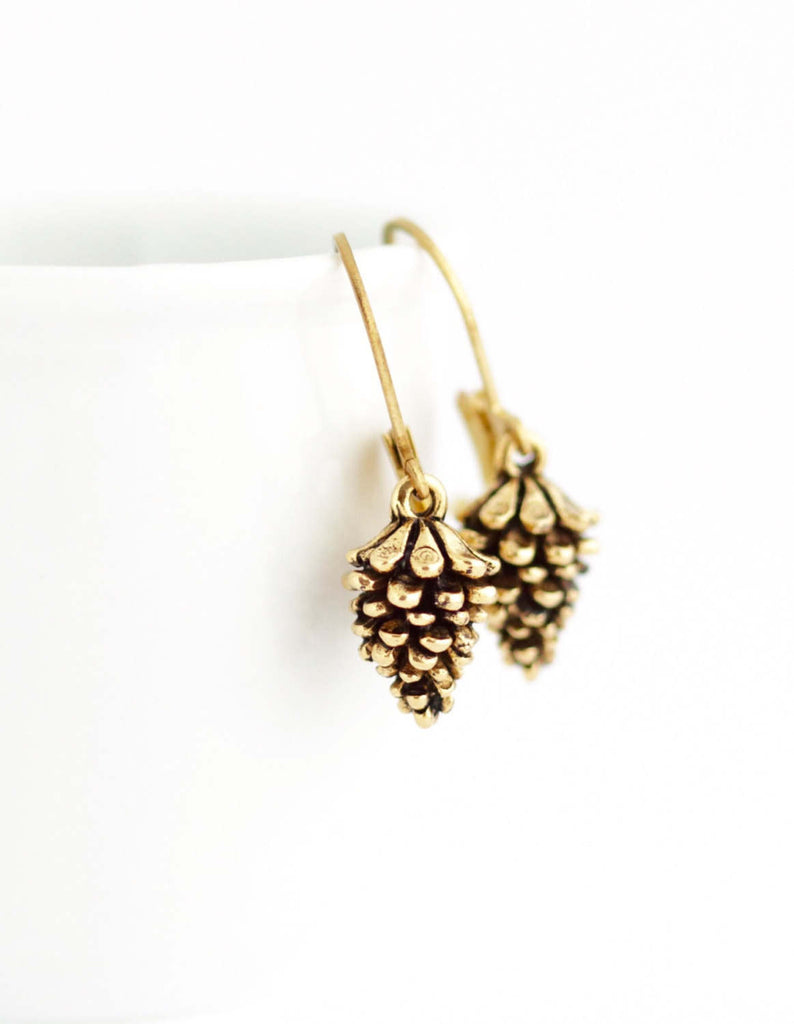Gold Pine Cone Earrings