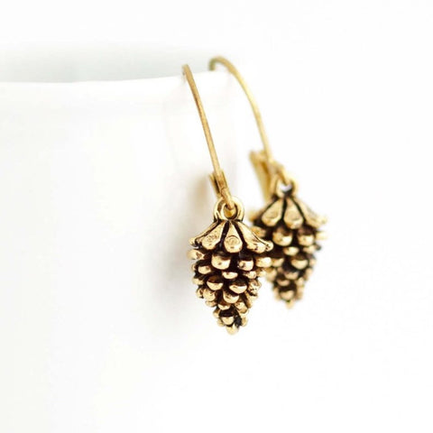 Gold Pine Cone Earrings - Jacaranda