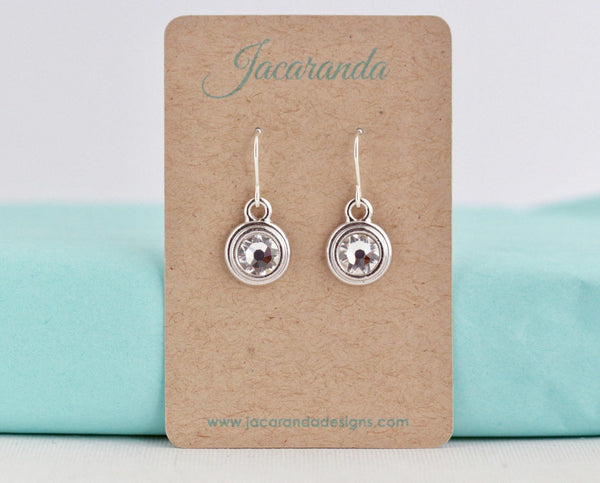 April Birthstone Earrings - Silver or Gold - Jacaranda