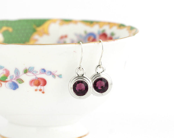 February Birthstone Earrings - Silver or Gold - Jacaranda