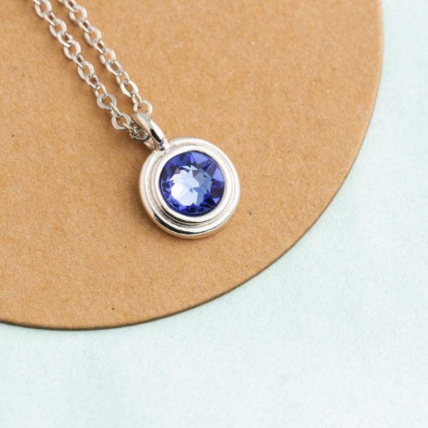 Solitaire Silver Crystal Birthstone Necklace