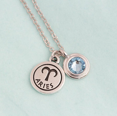 Silver Zodiac and Birthstone Charm Necklace - Jacaranda