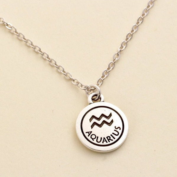 Silver Aquarius Zodiac Necklace - Jacaranda