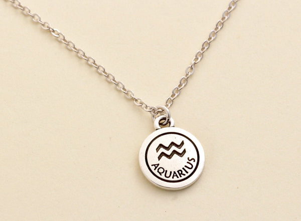 Silver Aquarius Zodiac Necklace