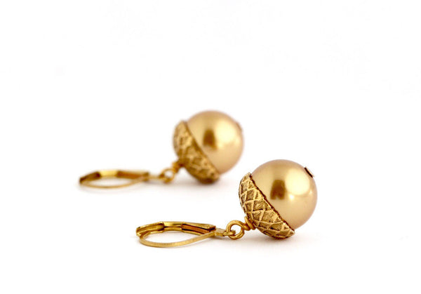 Gold Pearl Acorn Earrings - Jacaranda