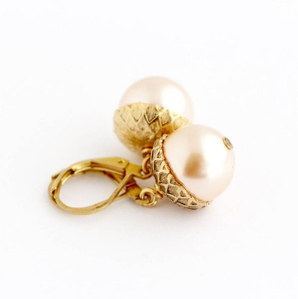 Blush Pink Gold Pearl Acorn Earrings - Jacaranda