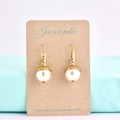 Ivory Pearl Acorn Earrings - Jacaranda