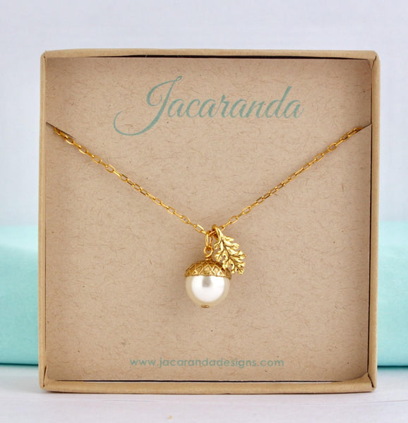 Ivory Pearl Acorn Necklace With Gold Plated Chain - Jacaranda