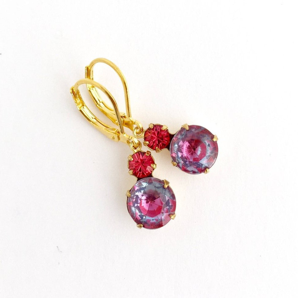 Fuchsi Pink Vintage Rhinestone Jewel Earrings - Jacaranda