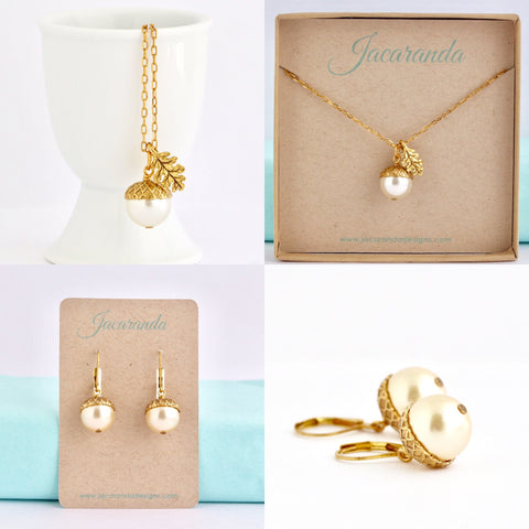 Acorn Necklace Earrings Gift Set - Pale Gold Pearl