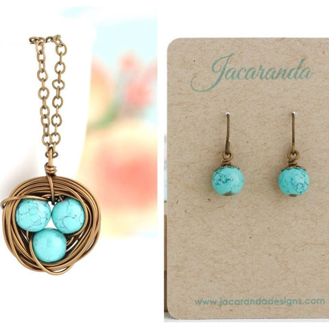 Bird Nest Necklace and Earrings Gift Set - Style 2 - Jacaranda