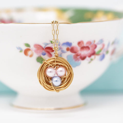 Bird Nest Necklace With Pink and Blue Eggs - You Choose the Colors