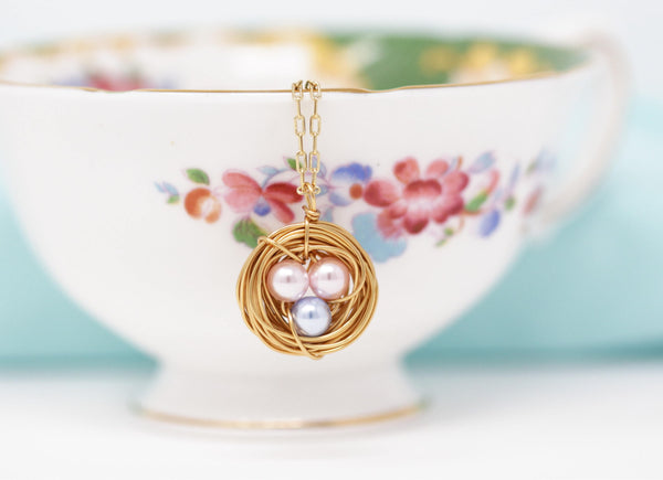 Bird Nest Necklace With Pink and Blue Eggs - You Choose the Colors - Jacaranda