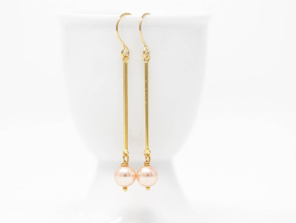 Long Pink Pearl Dangle Dangle Earrings - Jacaranda