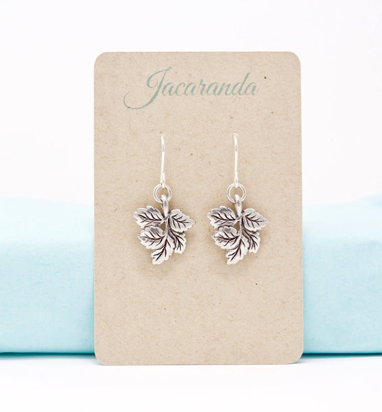 Silver Leaf Earrings - Jacaranda