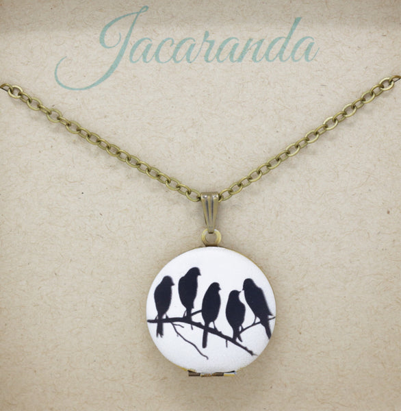 Blackbird Locket Necklace - Jacaranda