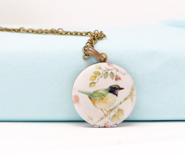 Bird Locket Necklace - Jacaranda