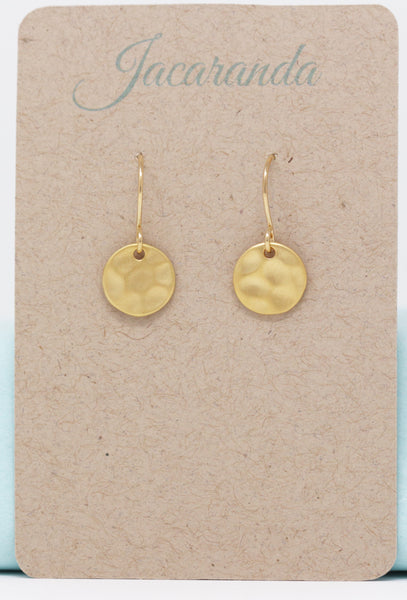 Small Gold Hammered Disk Earrings - Jacaranda